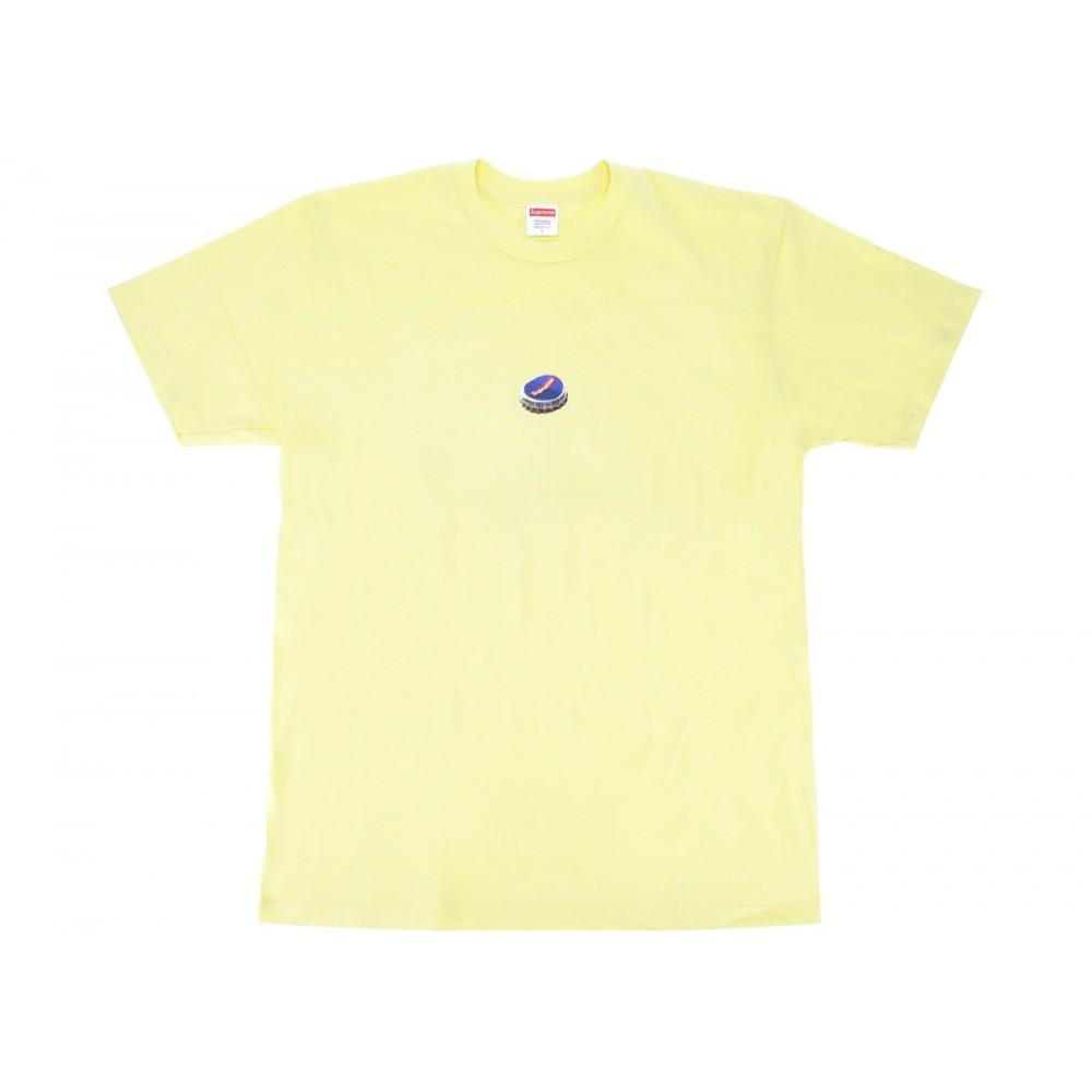 FW18 Supreme Bottle Cap Tee Pale Yellow