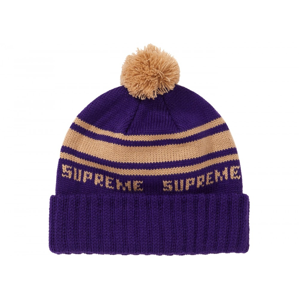 FW18 Supreme Classic Stripe Beanie Purple