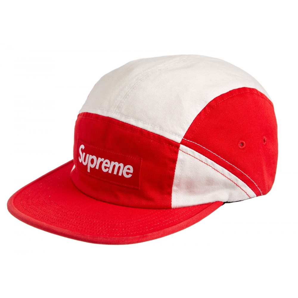 FW18 Supreme Contrast Panel Camp Cap Red