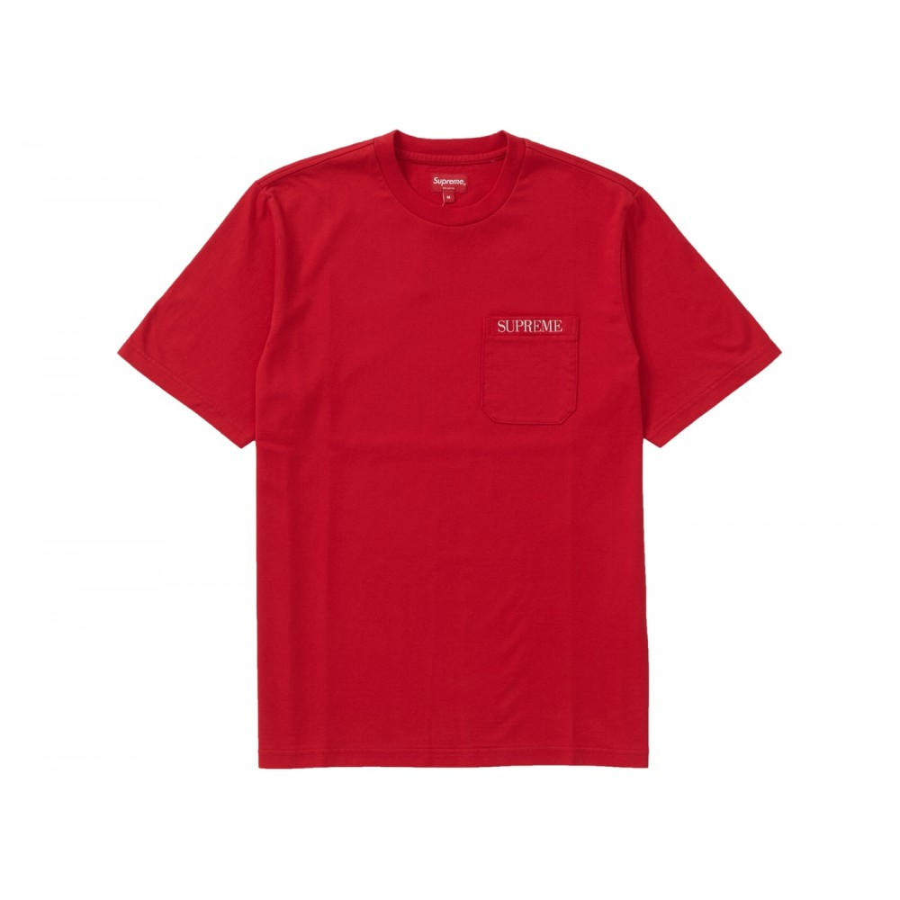 FW18 Supreme Embroidered Pocket Tee Red