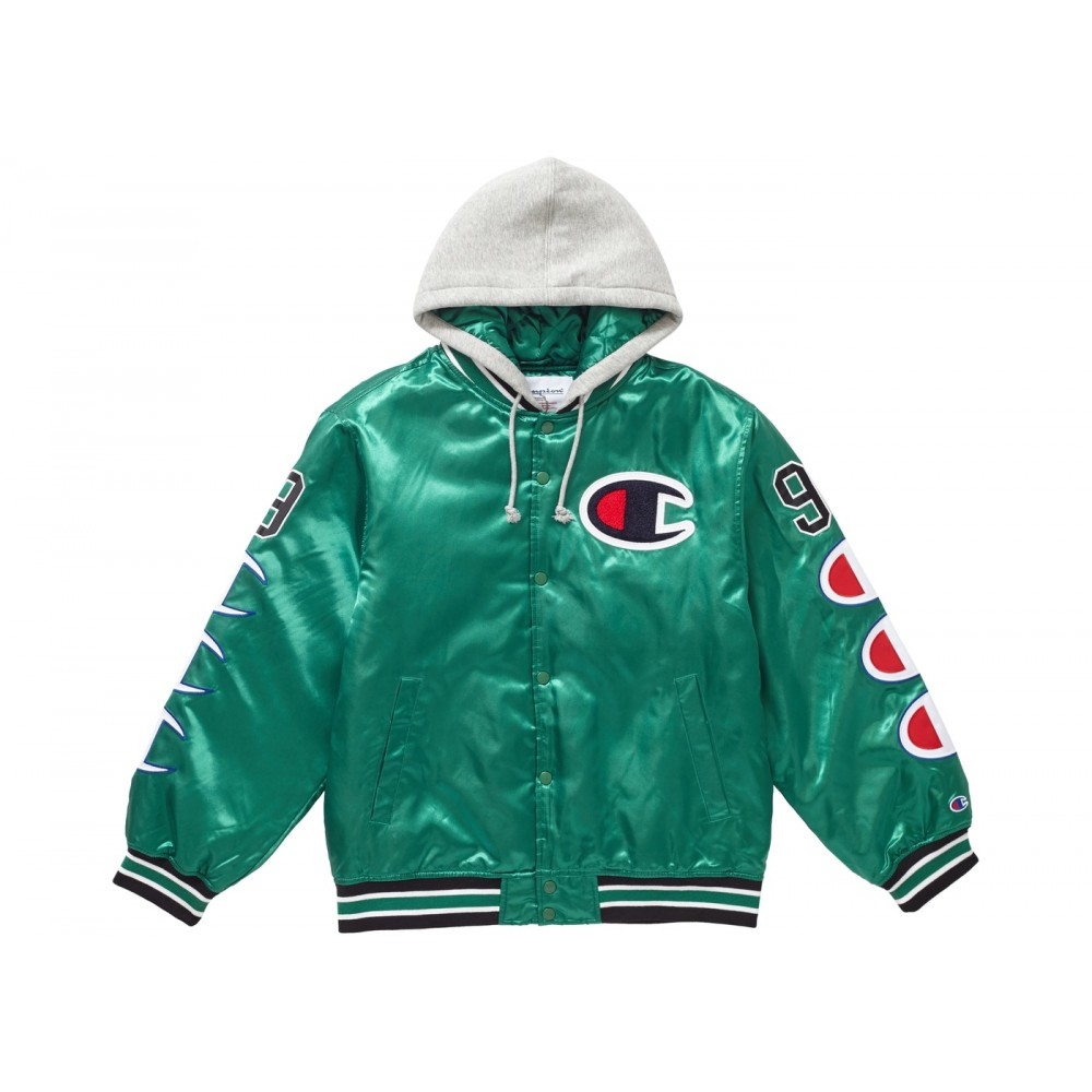 FW18 Supreme Champion Hooded Satin Varsity Jacket Kelly Green