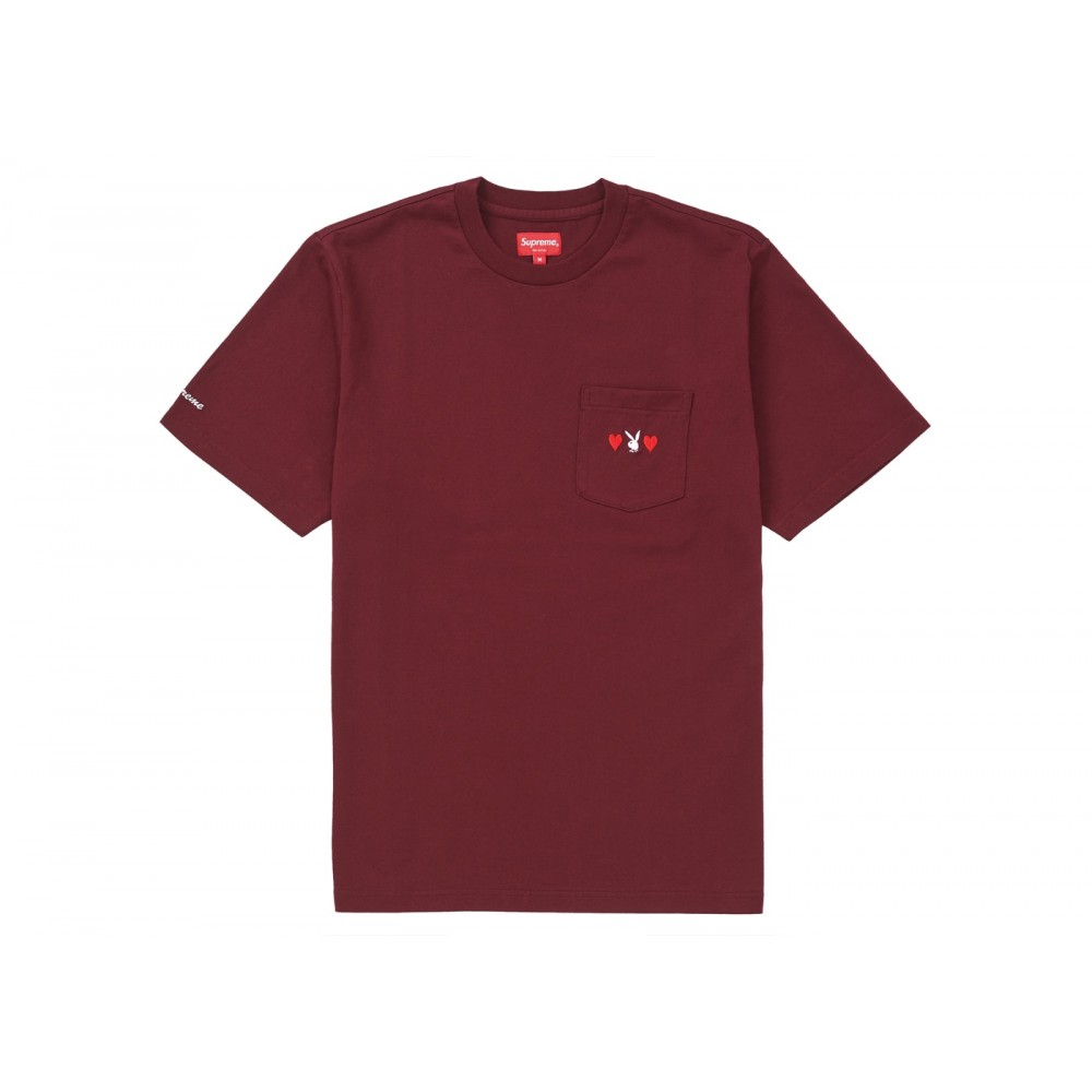 FW18 Supreme Playboy Pocket Tee Burgundy