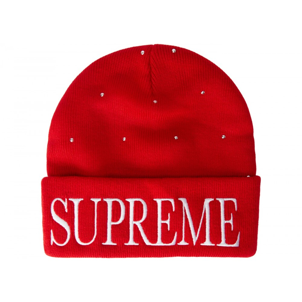 75d4089e FW18 Supreme Studded Beanie Red