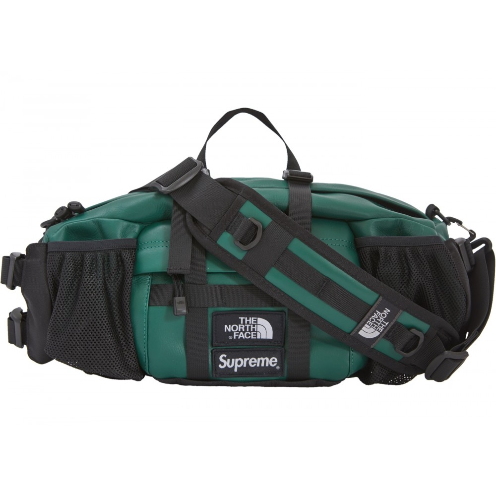 FW18 Supreme The North Face Leather Mountain Waist Bag Dark Green