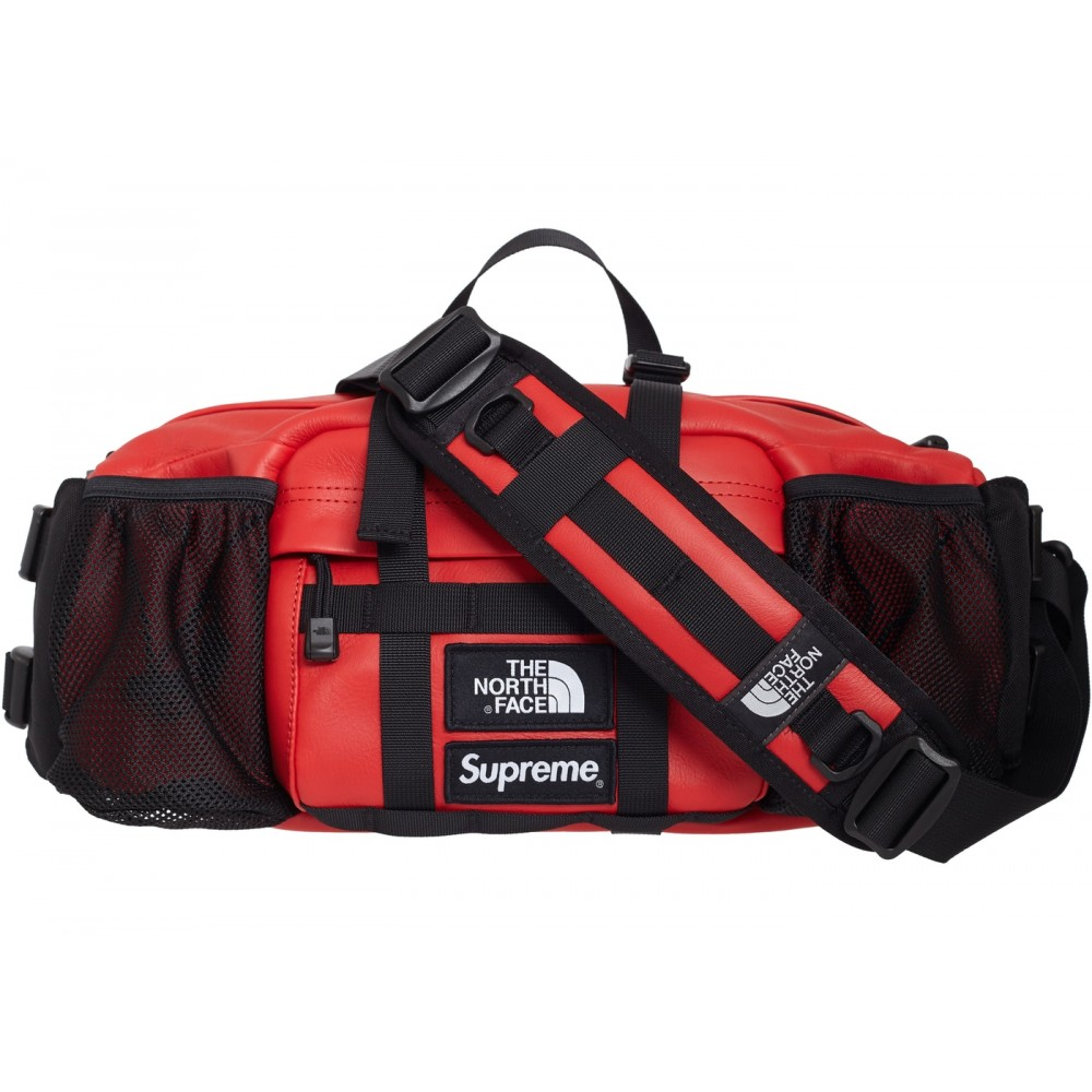 FW18 Supreme The North Face Leather Mountain Waist Bag Red