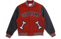 FW18 Supreme Bone Varsity Jacket Red