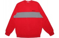 FW18 Supreme Checkered Panel Crewneck Sweater Red