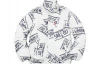 FW18 Supreme License Plate Puffy Jacket White