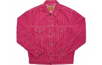 FW18 Supreme Levi's Pinstripe Trucker Jacket (With Pin) Magenta Stripe