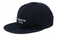 FW18 Supreme Napped Canvas Classic Logo 6-Panel Navy