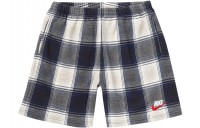 FW18 Supreme Nike Plaid Sweatshort Navy
