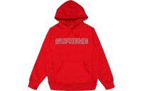 FW18 Supreme Perforated Leather Hooded Sweatshirt Red