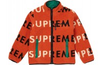 FW18 Supreme Reversible Logo Fleece Jacket Orange
