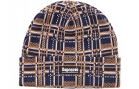 FW18 Supreme Plaid Beanie Navy