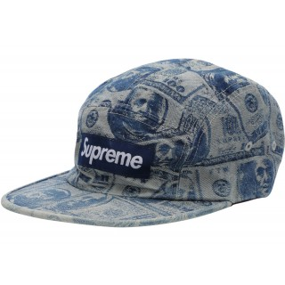 FW18 Supreme 100 Dollar Bill Camp Cap Blue