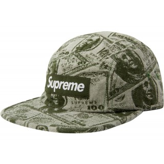 FW18 Supreme 100 Dollar Bill Camp Cap Green