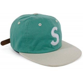 FW18 Supreme 2 Tone Washed S Logo 6 Panel Light Green
