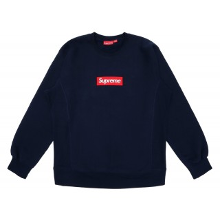 FW18 Supreme Box Logo Crewneck Navy