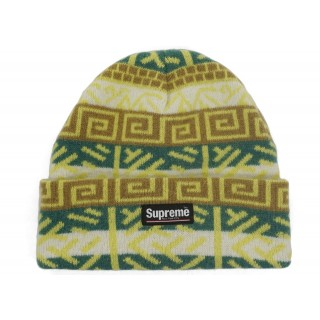 FW18 Supreme Brushed Pattern Beanie Green