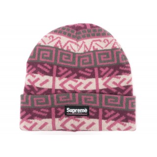 FW18 Supreme Brushed Pattern Beanie Purple