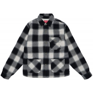 FW18 Supreme Buffalo Plaid Sherpa Lined Chore Shirt Natural