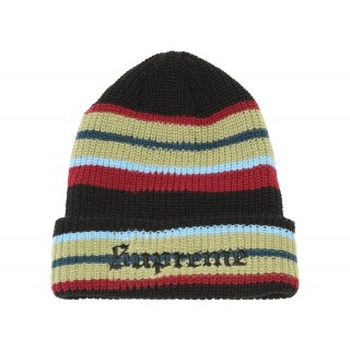FW18 Supreme Bright Stripe Beanie Black