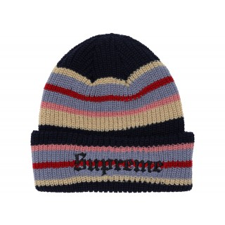 FW18 Supreme Bright Stripe Beanie Navy