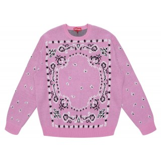 FW18 Supreme Bandana Sweater Light Pink