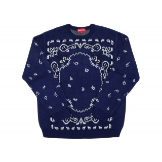 FW18 Supreme Bandana Sweater Navy