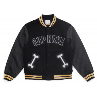 FW18 Supreme Bone Varsity Jacket Black