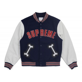 FW18 Supreme Bone Varsity Jacket Navy