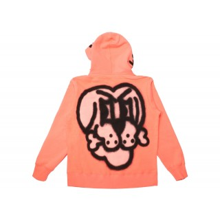FW18 Supreme Bone Zip Up Sweatshirt Flourescent Pink