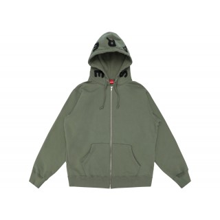 FW18 Supreme Bone Zip Up Sweatshirt Light Olive