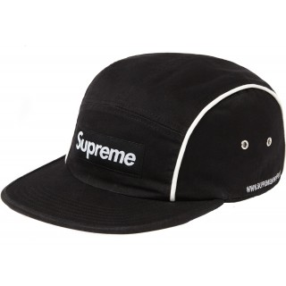 FW18 Supreme Piping Camp Cap Black