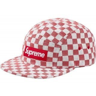 FW18 Supreme Checkerboard Camp Cap Red