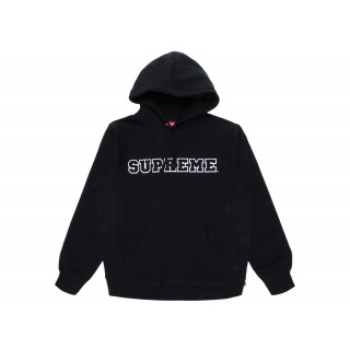 FW18 Supreme Cord Collegiate Logo Hooded Sweatshirt Black