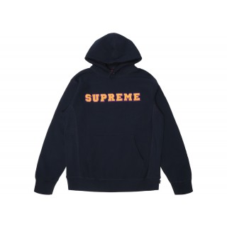 FW18 Supreme Cord Collegiate Logo Hooded Sweatshirt Navy