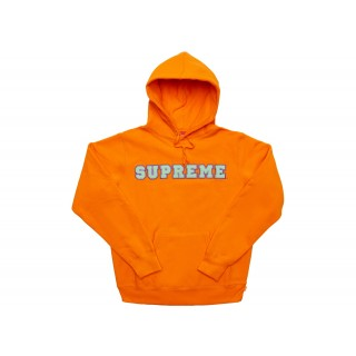 FW18 Supreme Cord Collegiate Logo Hooded Sweatshirt Orange