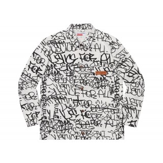 FW18 Supreme Comme des Garcons SHIRT Printed Canvas Chore Coat White