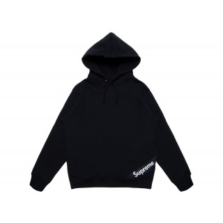 FW18 Supreme Corner Label Hooded Sweatshirt Black