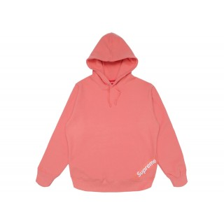 FW18 Supreme Corner Label Hooded Sweatshirt Coral