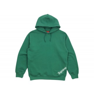 FW18 Supreme Corner Label Hooded Sweatshirt Light Pine