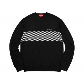 FW18 Supreme Checkered Panel Crewneck Sweater Black
