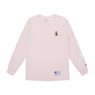 FW18 Supreme Champion Stacked C L/S Tee Light Pink