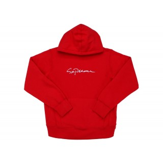 FW18 Supreme Classic Script Hooded Sweatshirt Red