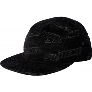 FW18 Supreme Debossed Corduroy Camp Cap Black