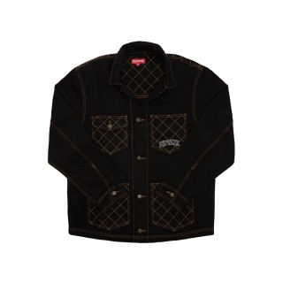 FW18 Supreme Diamond Stitch Denim Chore Coat Black