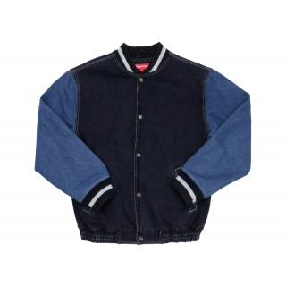 FW18 Supreme Denim Varsity Jacket Black