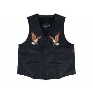 FW18 Supreme Eagle Leather Vest Black