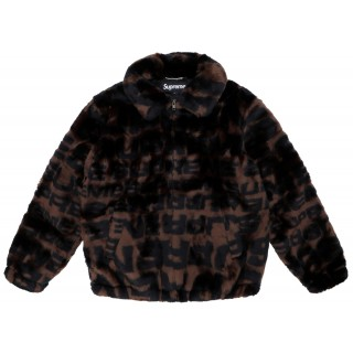 FW18 Supreme Faux Fur Repeater Bomber Brown